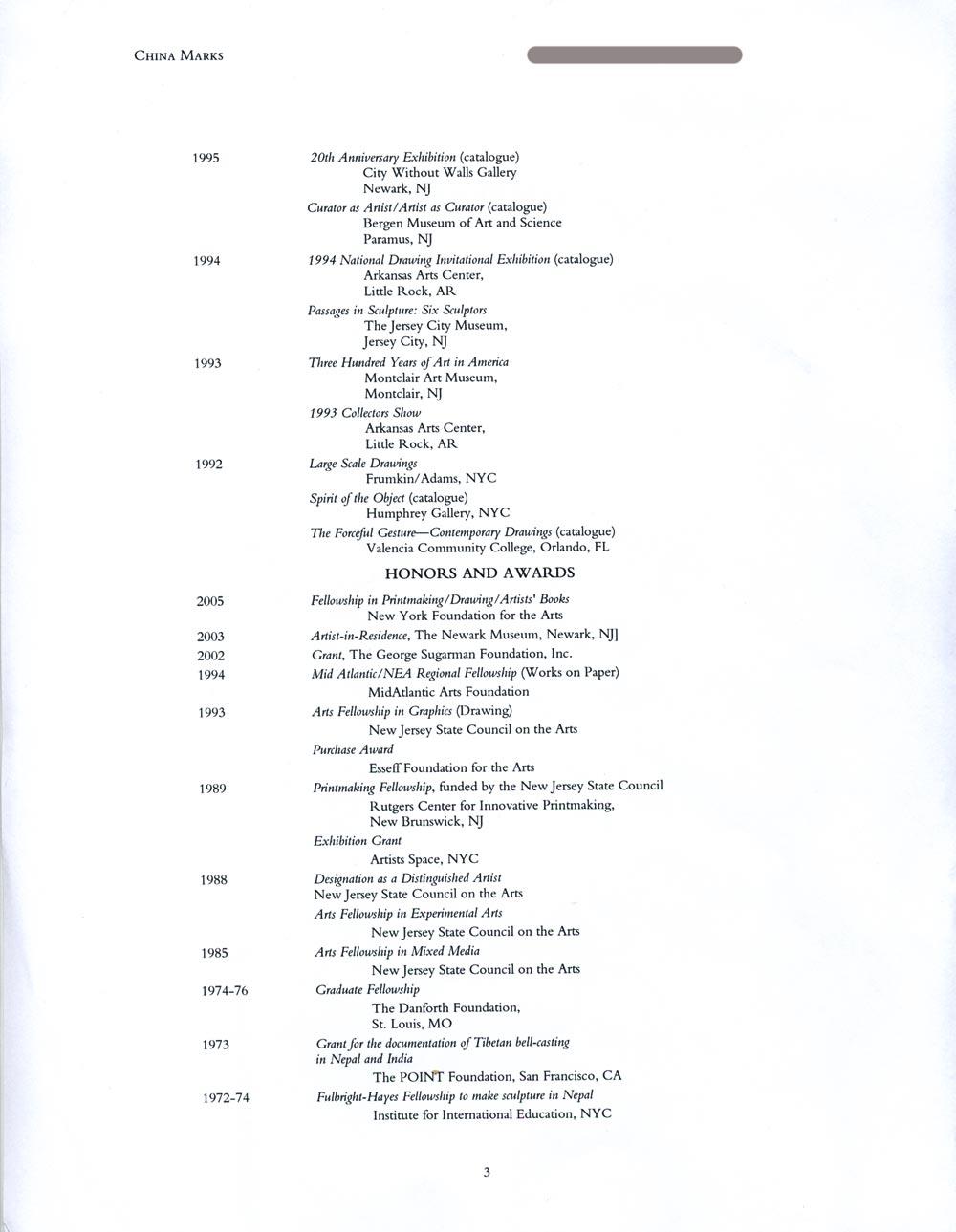 China Mark's Resume, pg 3